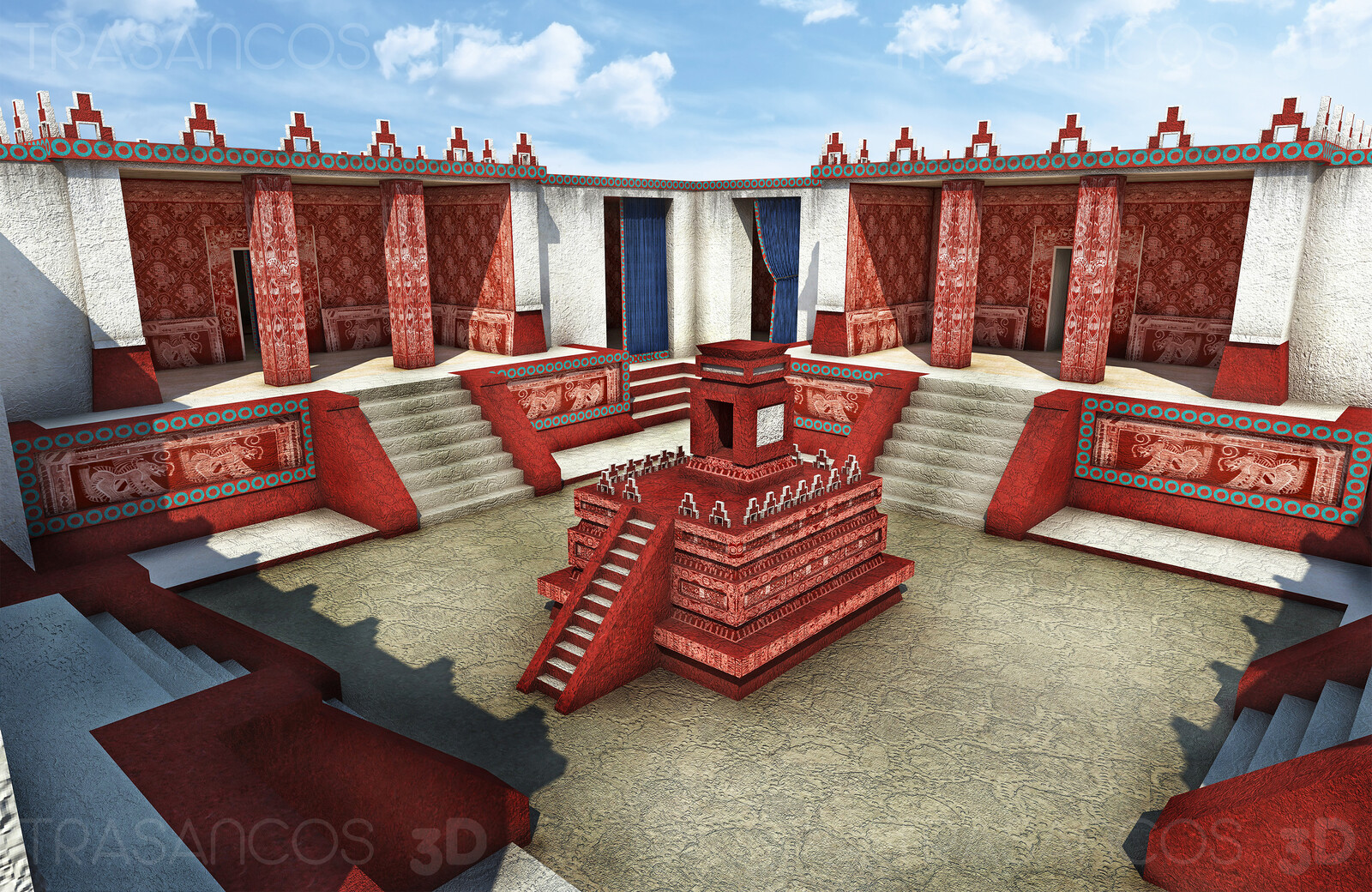 View of one of the inner courts of the palace of Atetelco in Tehotihuacan. Modeled in collaboration with: - Andrés Armesto