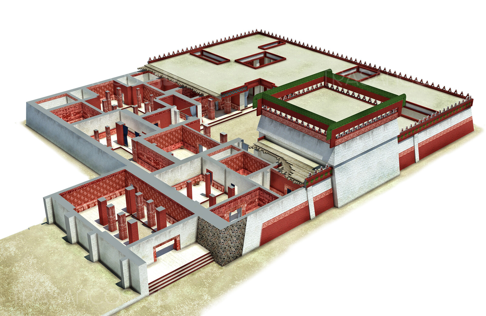 Cut away of the palace of Zacuala in Tehotihuacan.