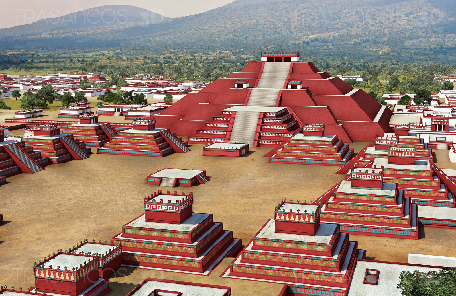 View of the Moon pyramid and surroundings in Tehotihuacan. Modeled in collaboration with: - Carlos Paz