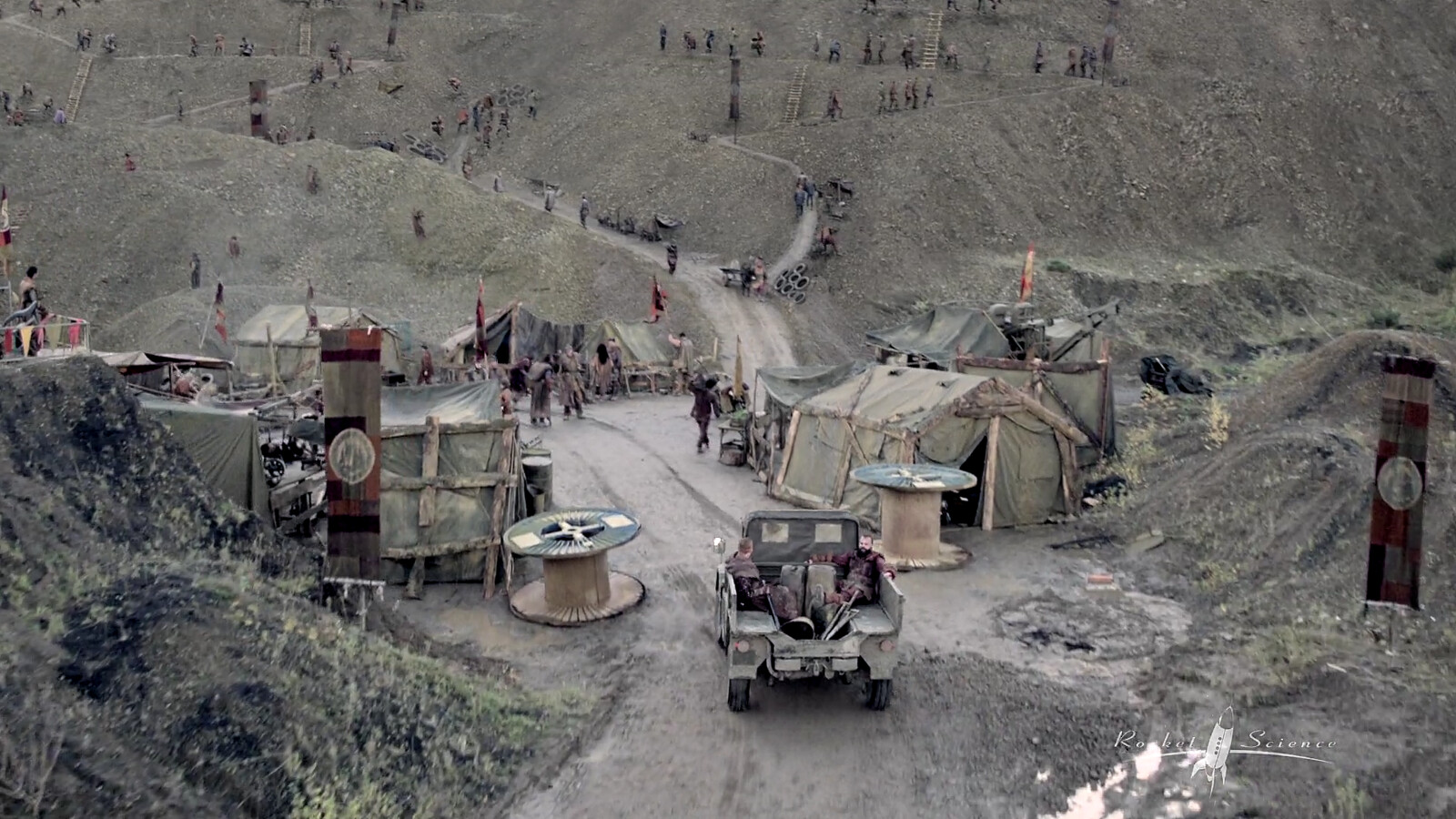 Into the Badlands Season 3 - Digi-Doubles, Excavation Tables and flags for the Quarry Scene