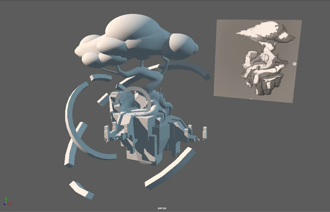 Rough mock-up in Maya, where I played around with the design some more and tried to make it a bit more interesting.