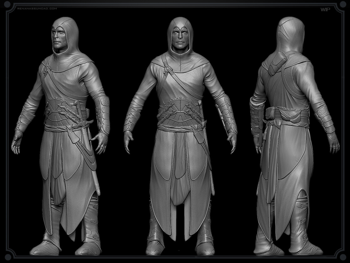 Renan assuncao zbrush medieval collectible statue print assassins creed renan assuncao 1