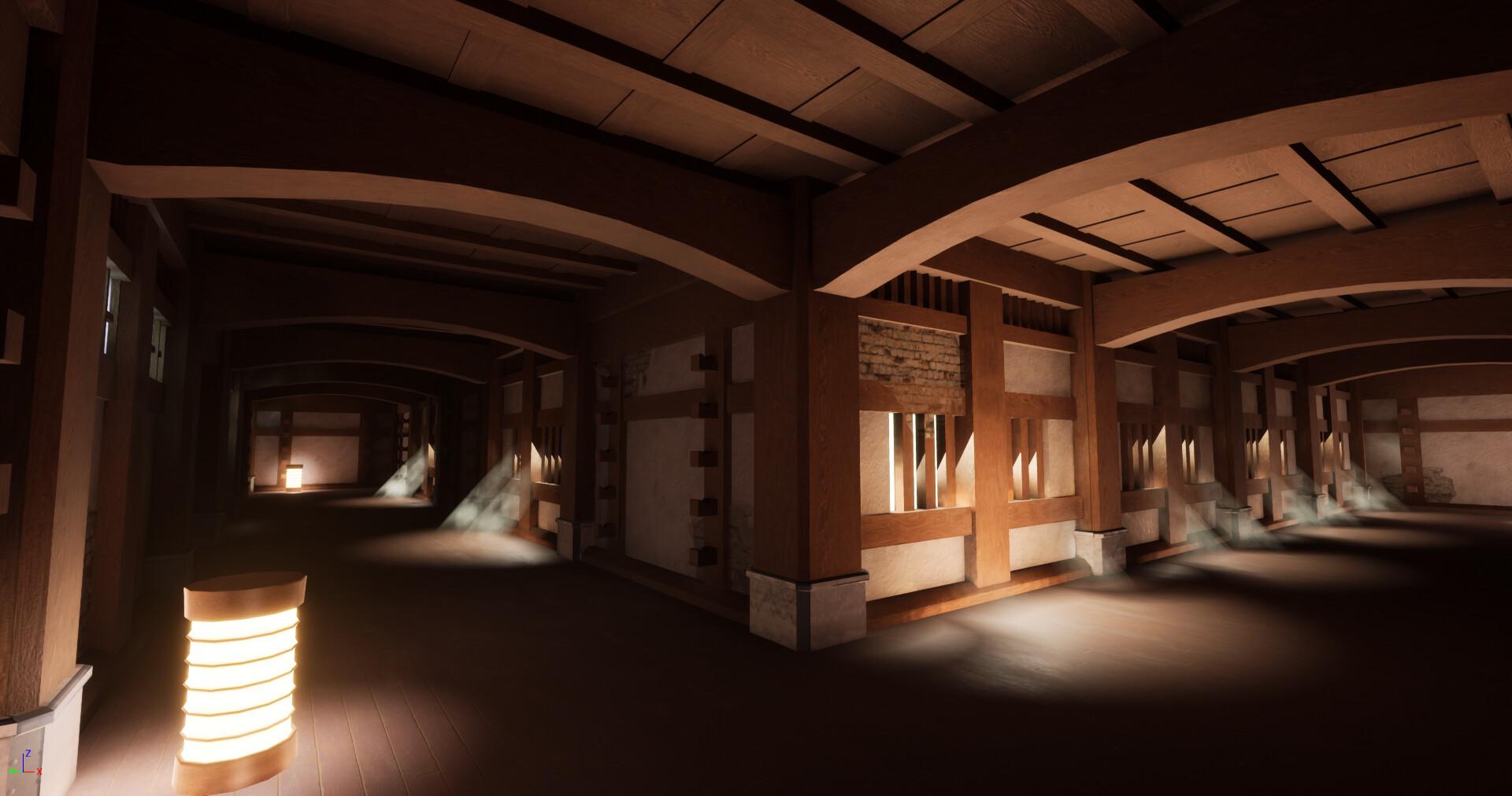 Artstation Japanese Castle Interior Environment Scene