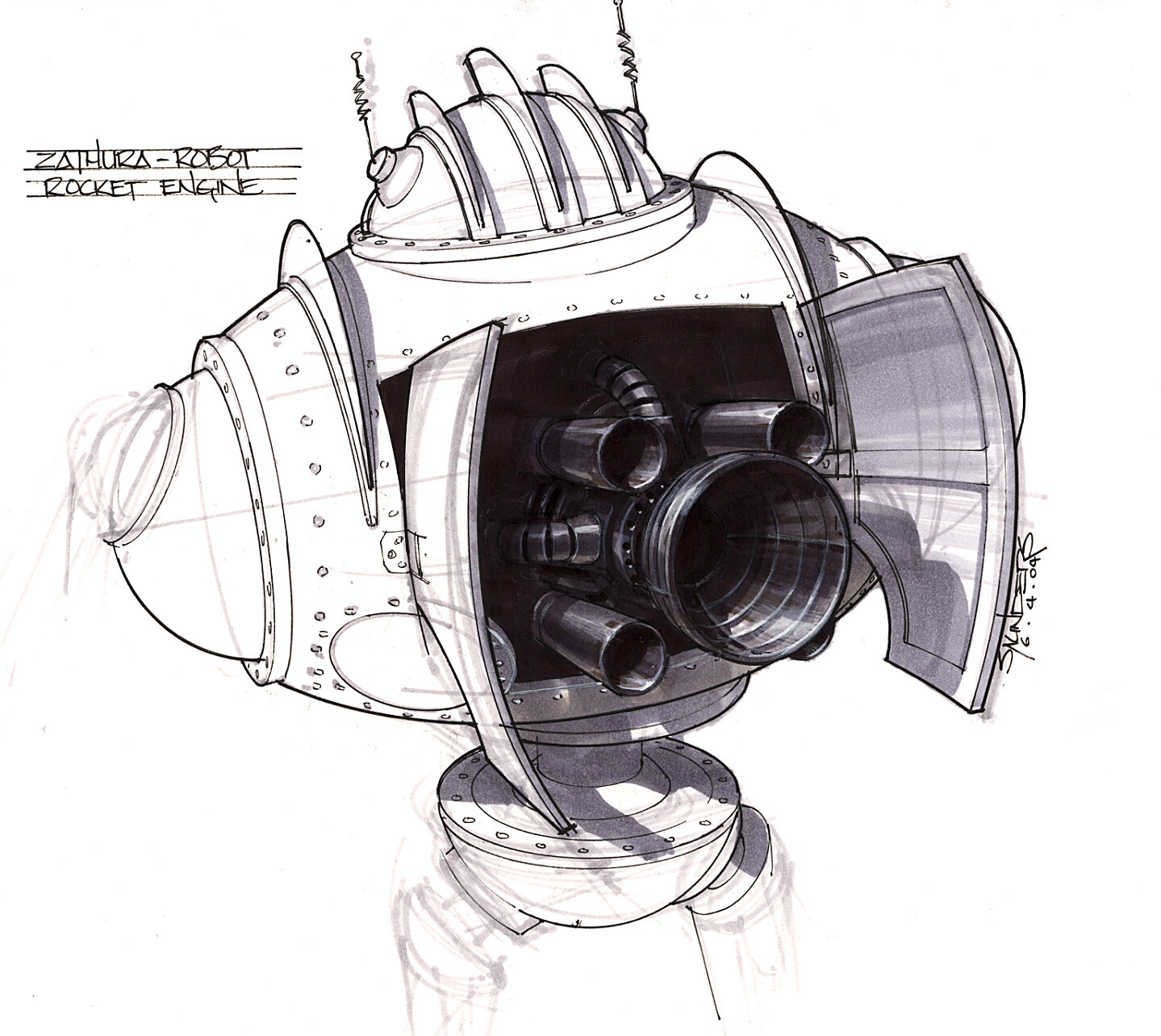 Early detail sketch of the rocket boosters.