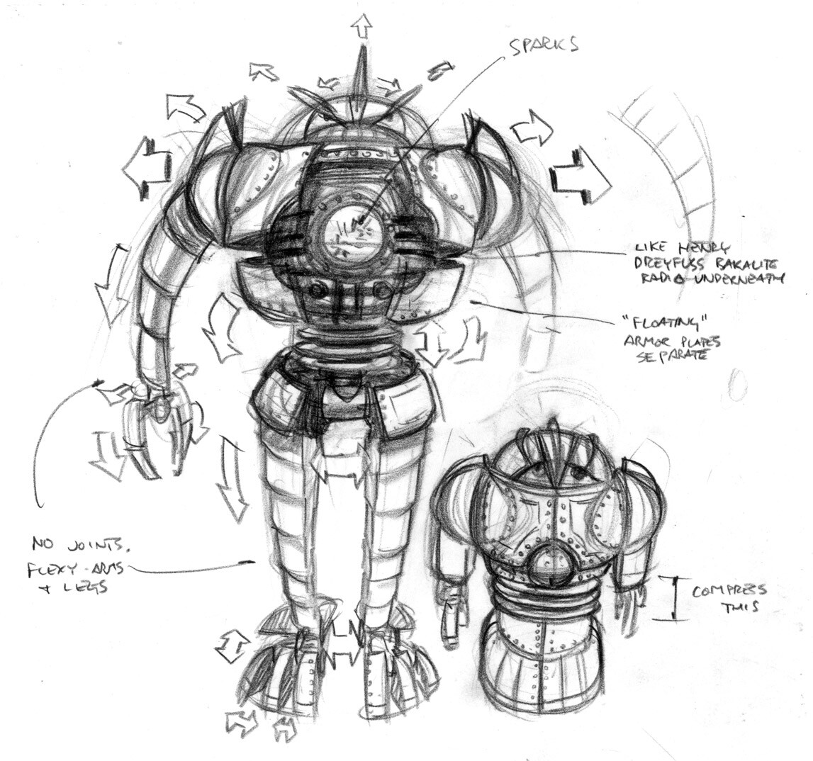 Transformation sketch showing how the earlier concept could expand mechanically from a small wind-up toy to the menacing final robot.