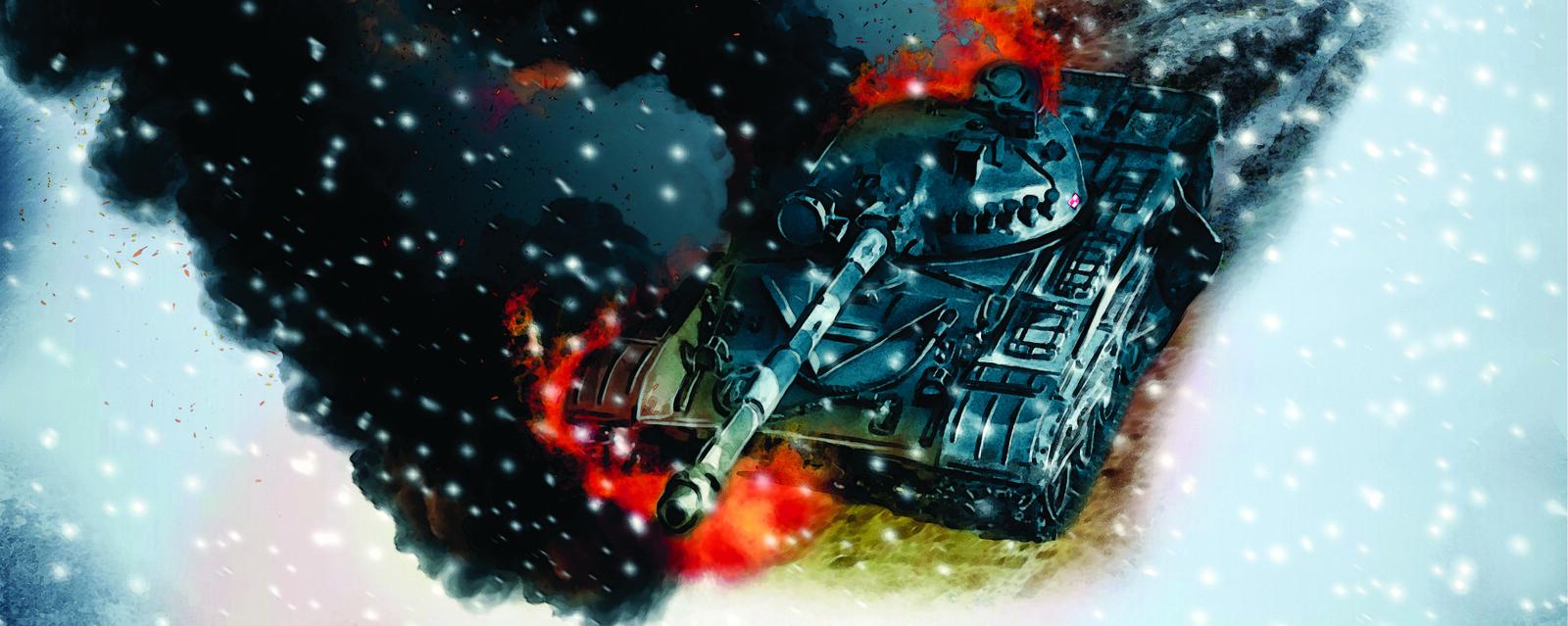 Burning Polish T-72 tank