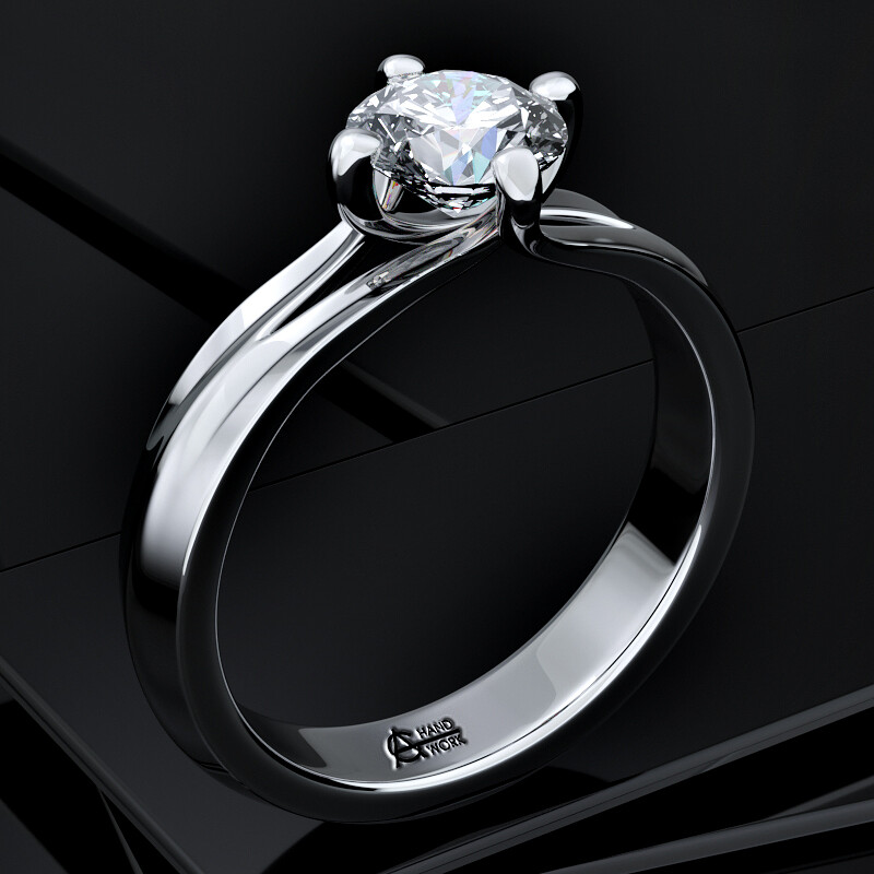 "Silver ring with diamond  - ""Princess"""