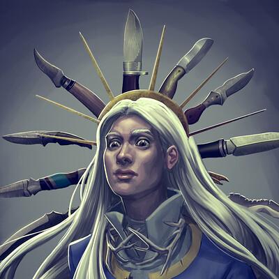Jaria rambaran alina with knives