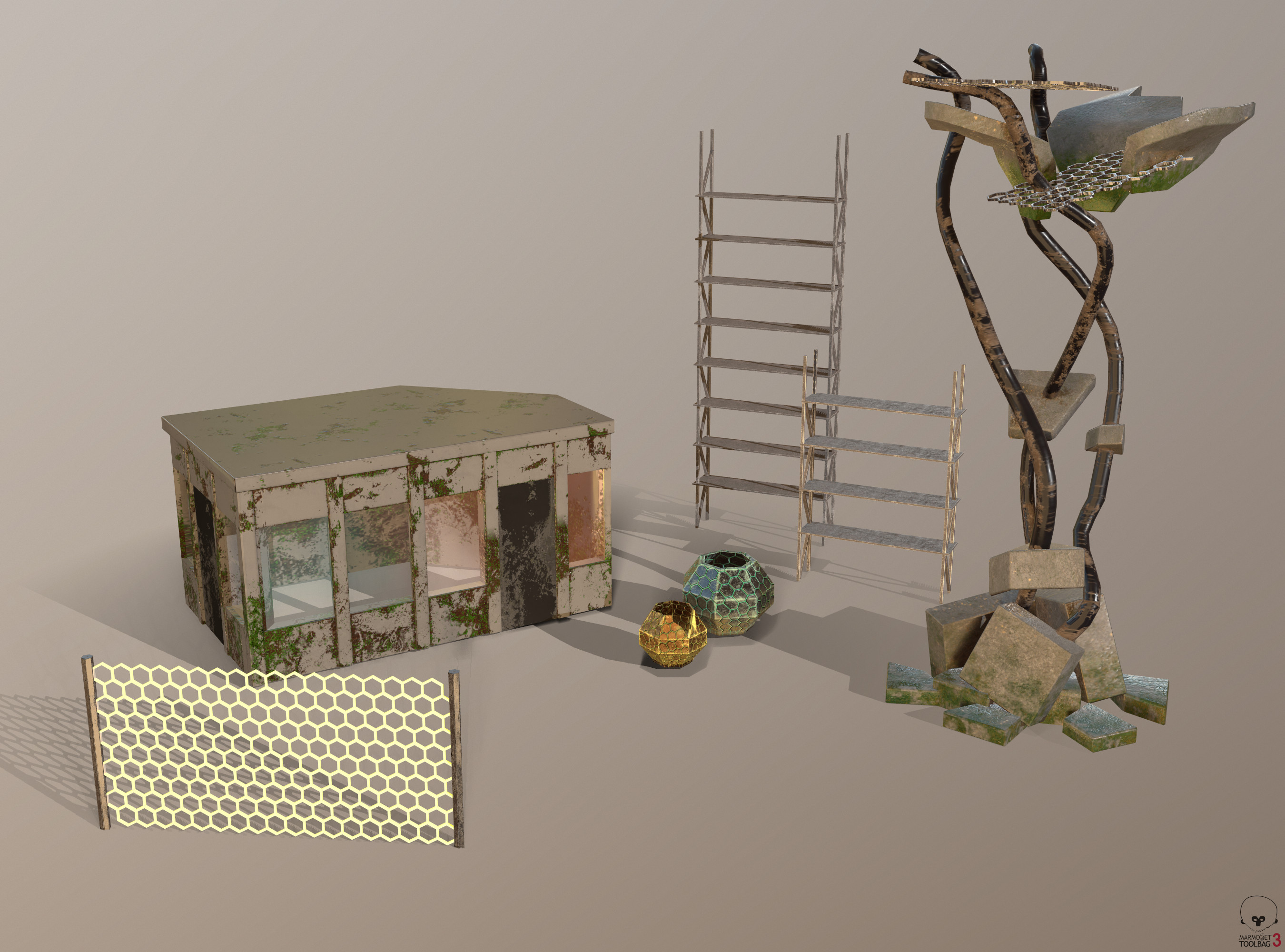 All the props I made for the scene.