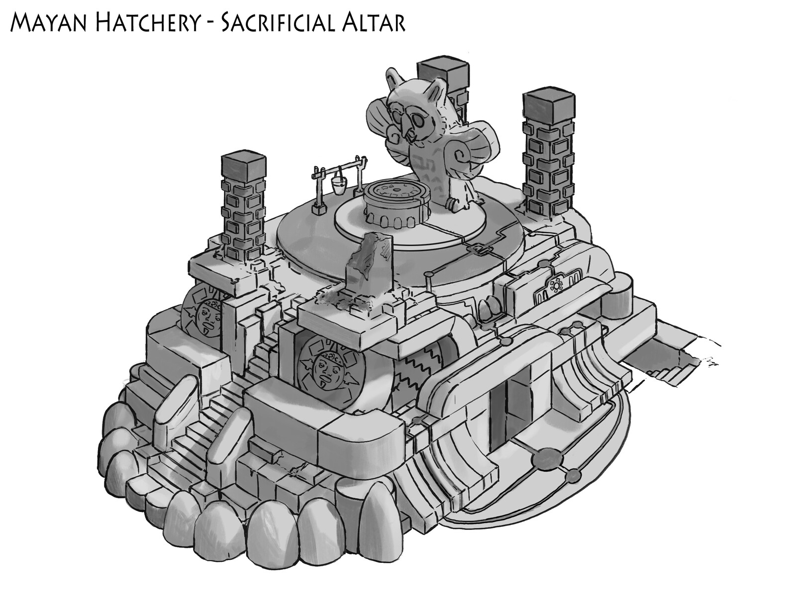 Mayan Sacrificial altar and demon hatchery