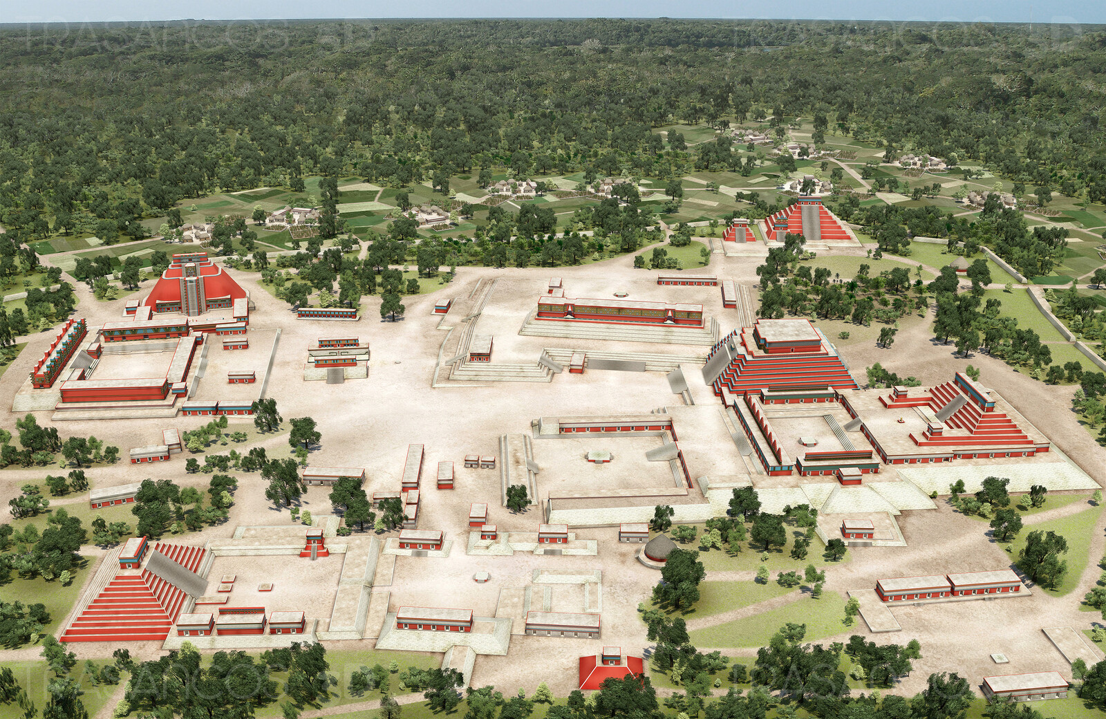 Panoramic view of the reconstructed mayan city of Uxmal. Modeled in collaboration with: - Andrés Armesto - Alejandro Soriano - Carlos Paz - Diego Blanco