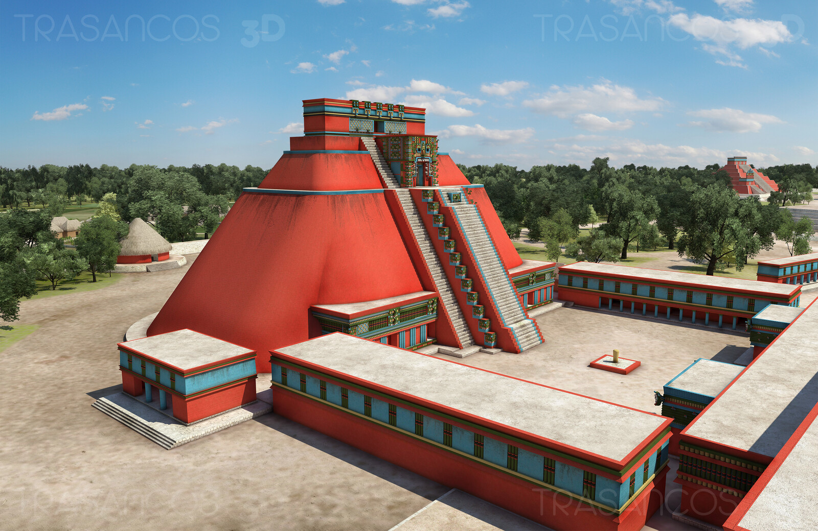 View of the Pyramid of the Magician and Birds Court in Uxmal. Modeled in collaboration with: - Andrés Armesto