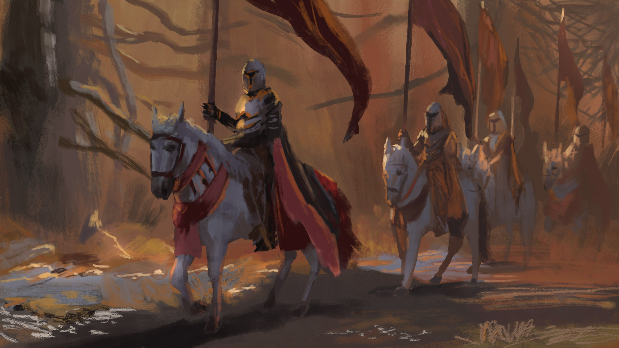 Study: John Park Study 02 A quick study of John Park's amazing painting with a column of knights riding through a forest with quite magical light mood. Check it out when you got the chance, it is so full of layers and layers!