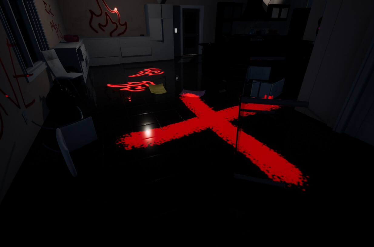 a giant red X and childishly drawn picture of fire mark where the player should use the gas can