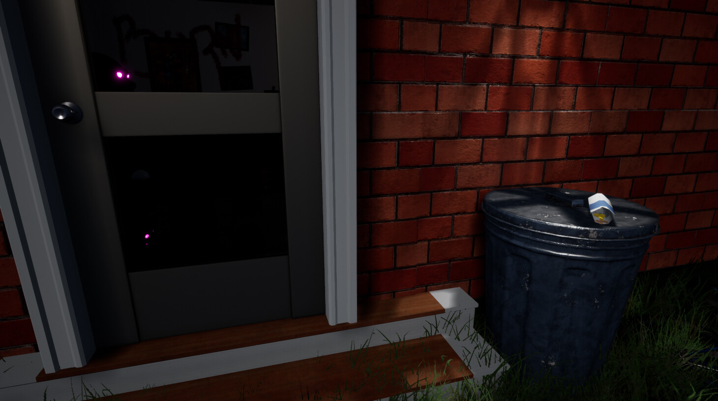 The first interactable door the player encounters is glass to show them that there is more that awaits them. There is a hidden key on the trash can beside hidden in a child's drawing. Playtesters thought this was frustrating so I removed the paper! :)