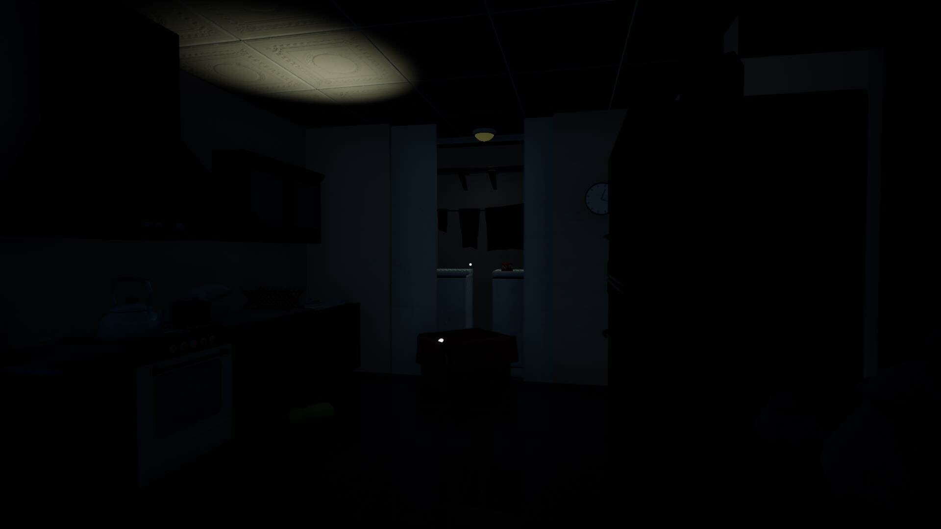 Kitchen area: when player first enters house: Back door slams shut and  the laundry room light flashes to beckon the player to flashlight pickup. As the  Bear blocks door turned off by switch
