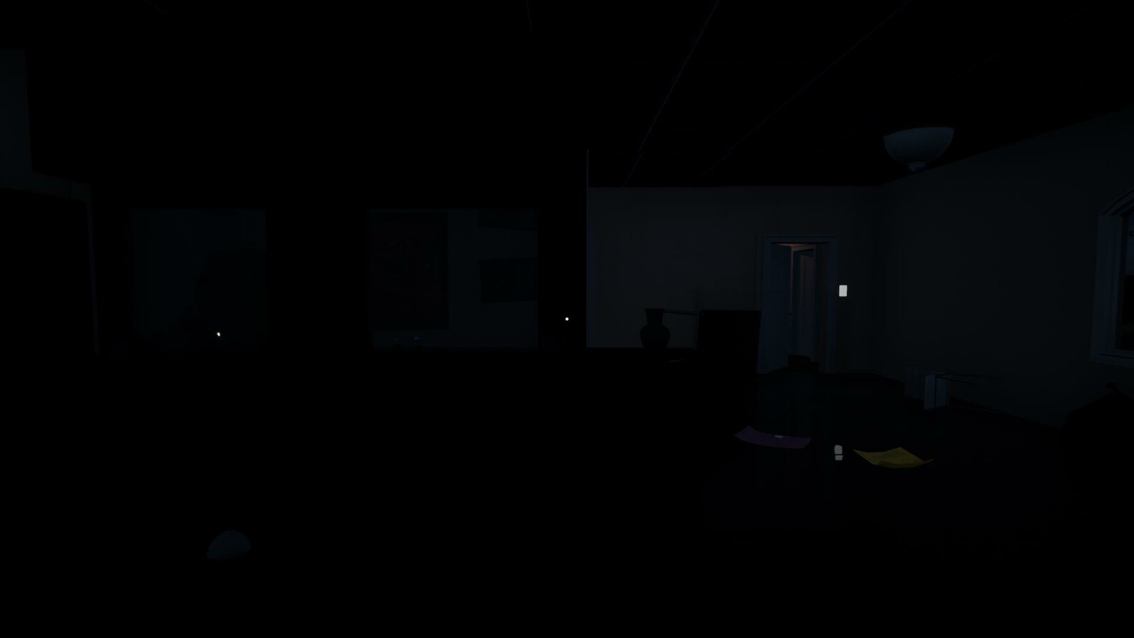 Kitchen area obscuring the player view to heighten tension yet guiding with light and geometry towards doors