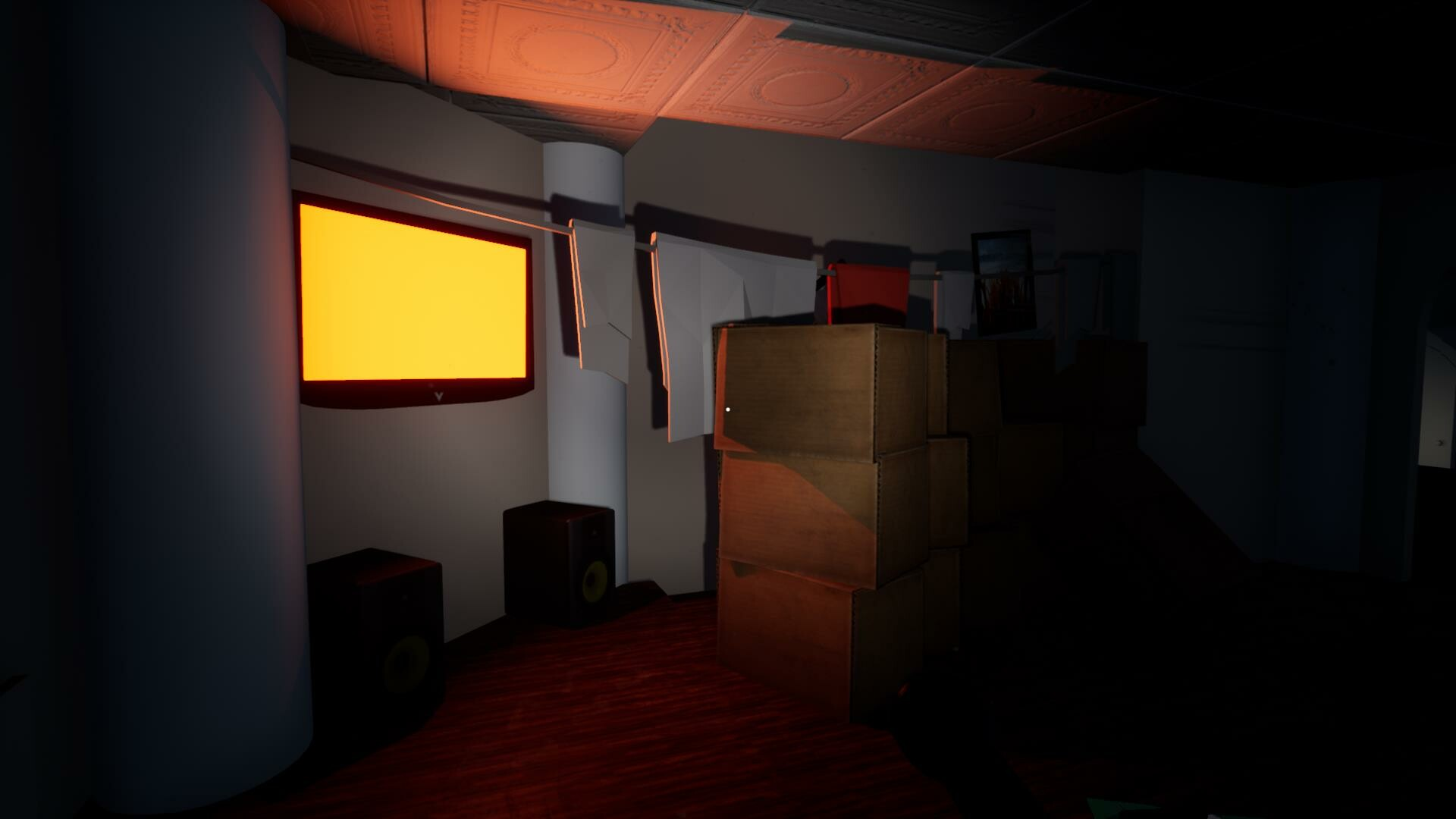 The orange glow illuminates a secret path behind rows of boxes