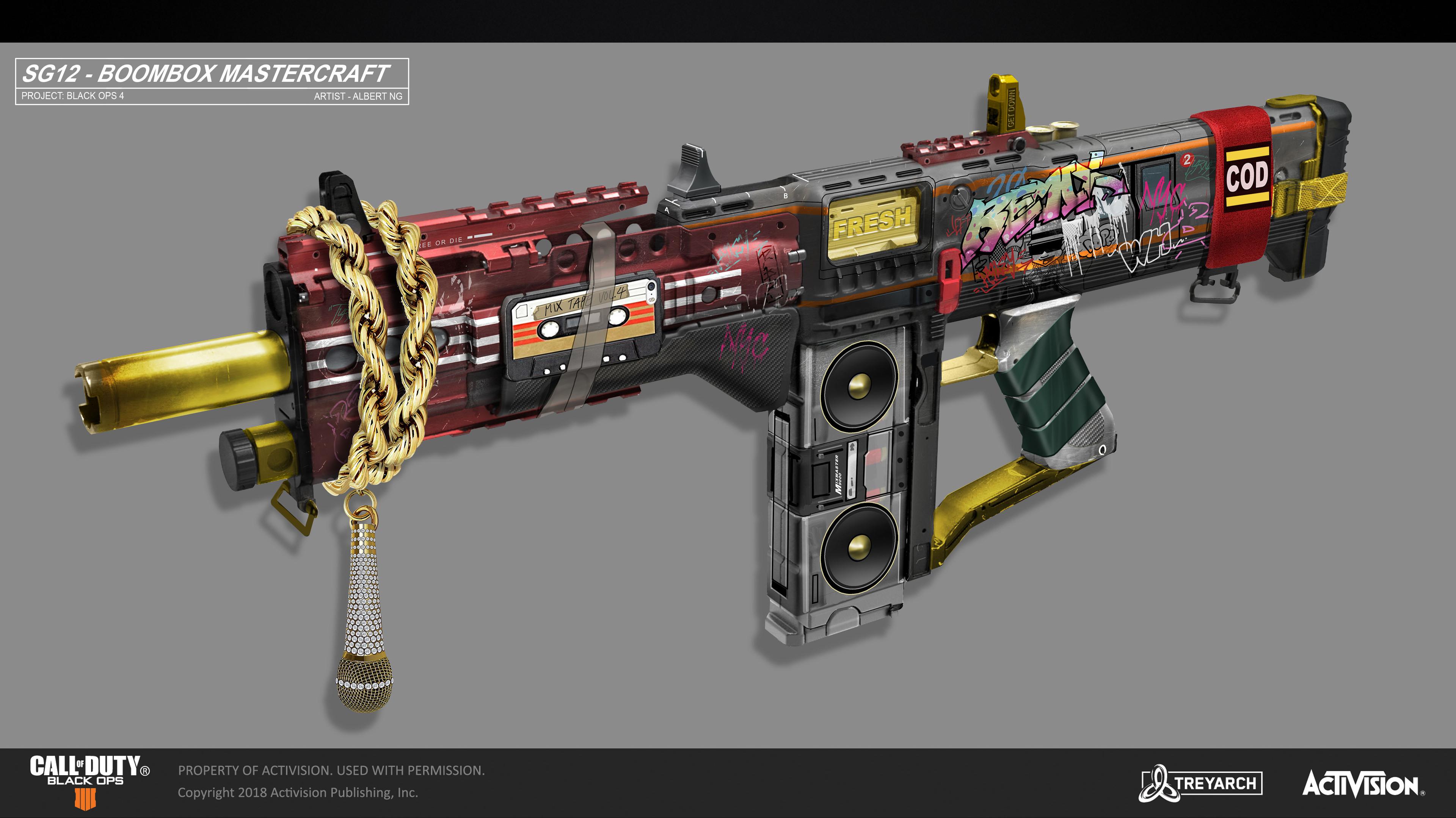 Call of Duty - Black Ops 4 - SG 12 Shotgun Mastercraft - Boombox Concept  Concept Art - Albert Ng