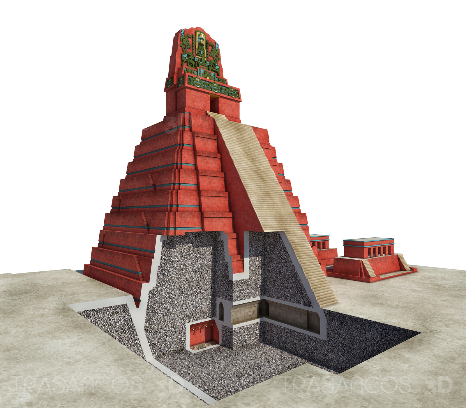 Cut away of the Temple I (or Temple of the Great Jaguar) In Tikal, showing the tomb of the king Jasaw Chan K'awil. Modeled in collaboration with: - Andrés Armesto