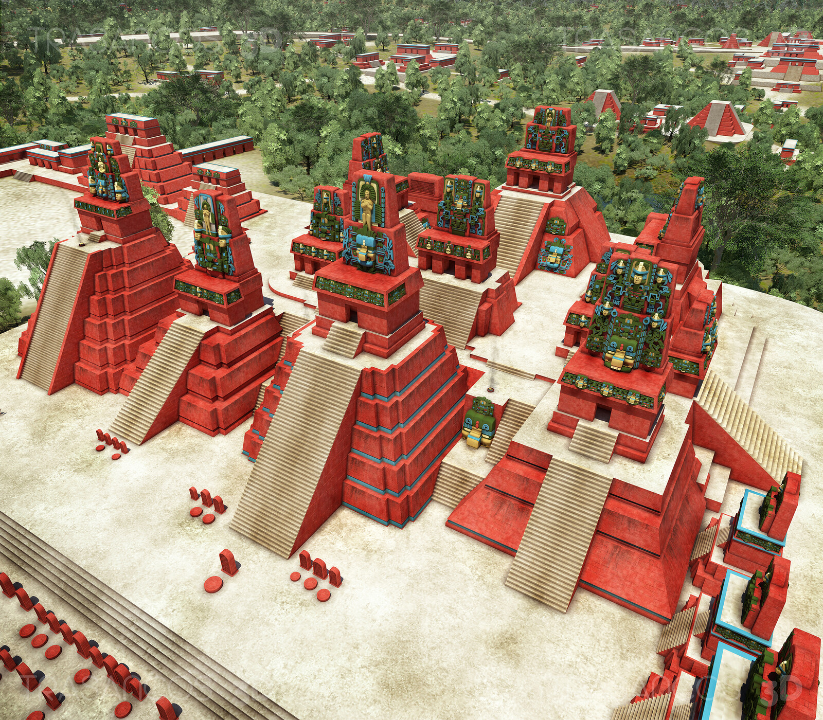 View of the North Acropolis of Tikal. Modeled in collaboration with: - Andrés Armesto