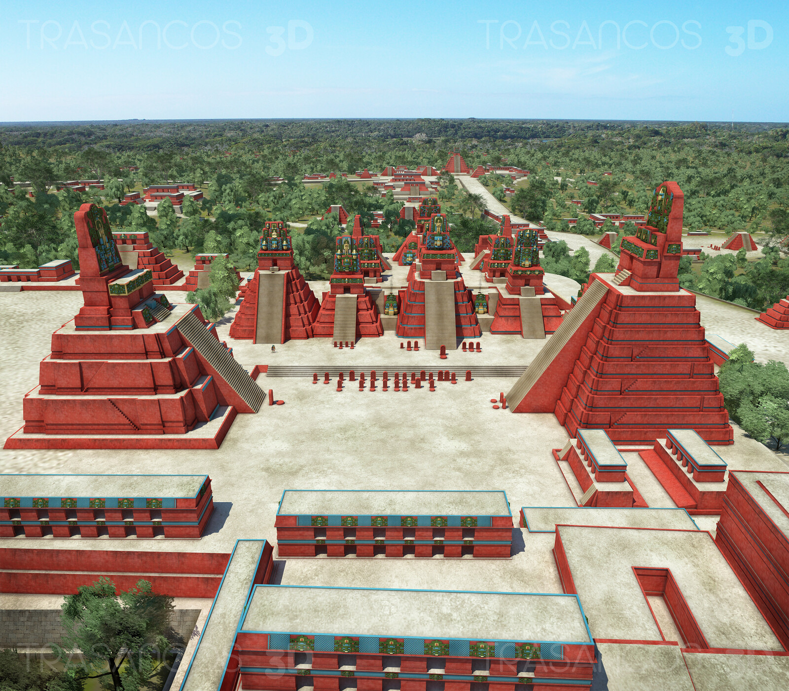 View of the Great Square of Tikal over the Central Acropolis and the Temple I and II at both sides and the North Acrópolis at the background. Modeled in collaboration with: - Andrés Armesto - Alejandro Soriano - Carlos Paz