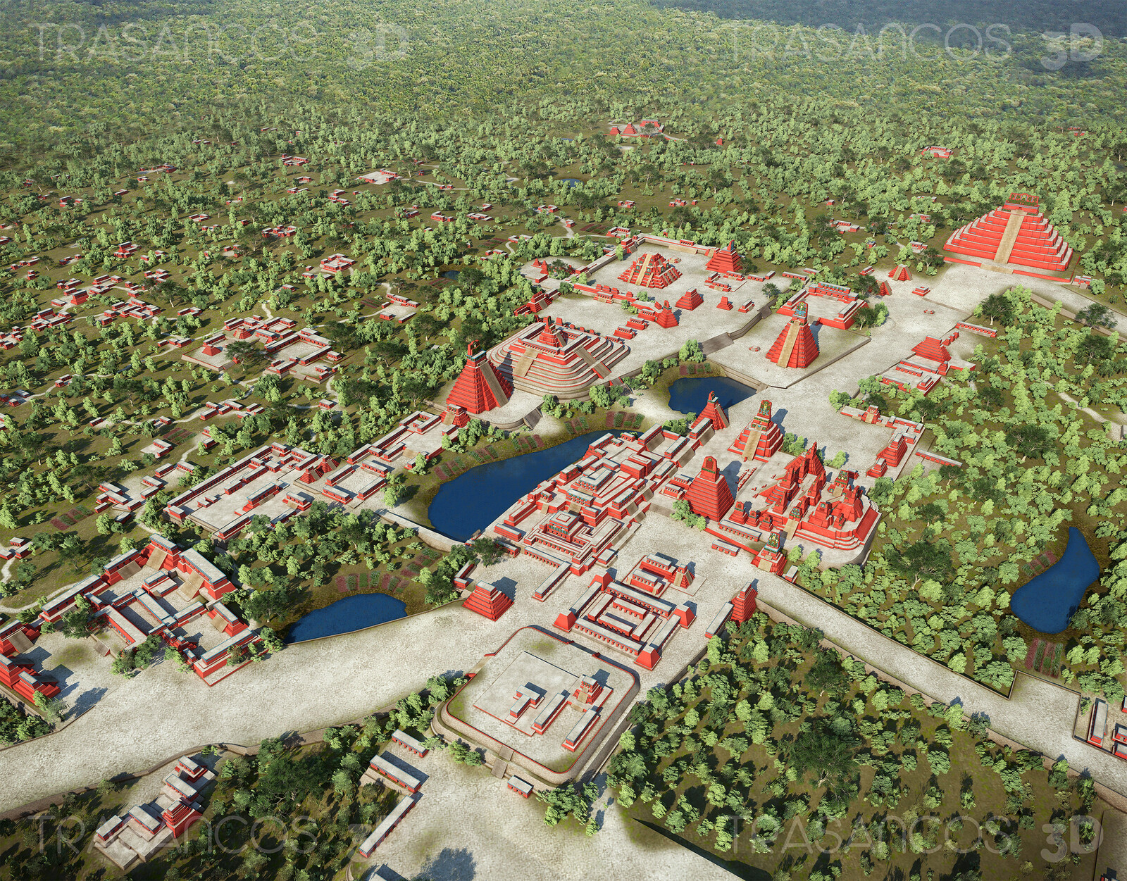 Aerial view of the reconstructed mayan city of Tikal, in Guatemala. Modeled in collaboration with: - Andrés Armesto - Alejandro Soriano - Carlos Paz - Diego Blanco