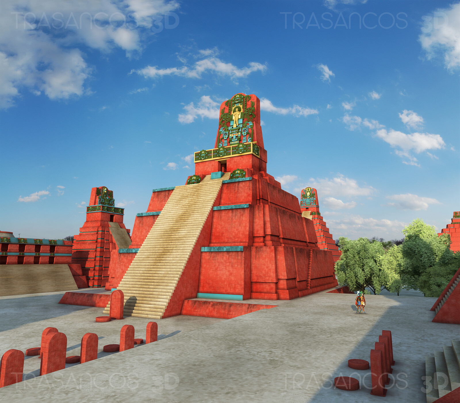 View of te reconstructed Temple II in the Great Square of Tikal. Modeled in collaboration with: - Andrés Armesto - Alejandro Soriano - Carlos Paz