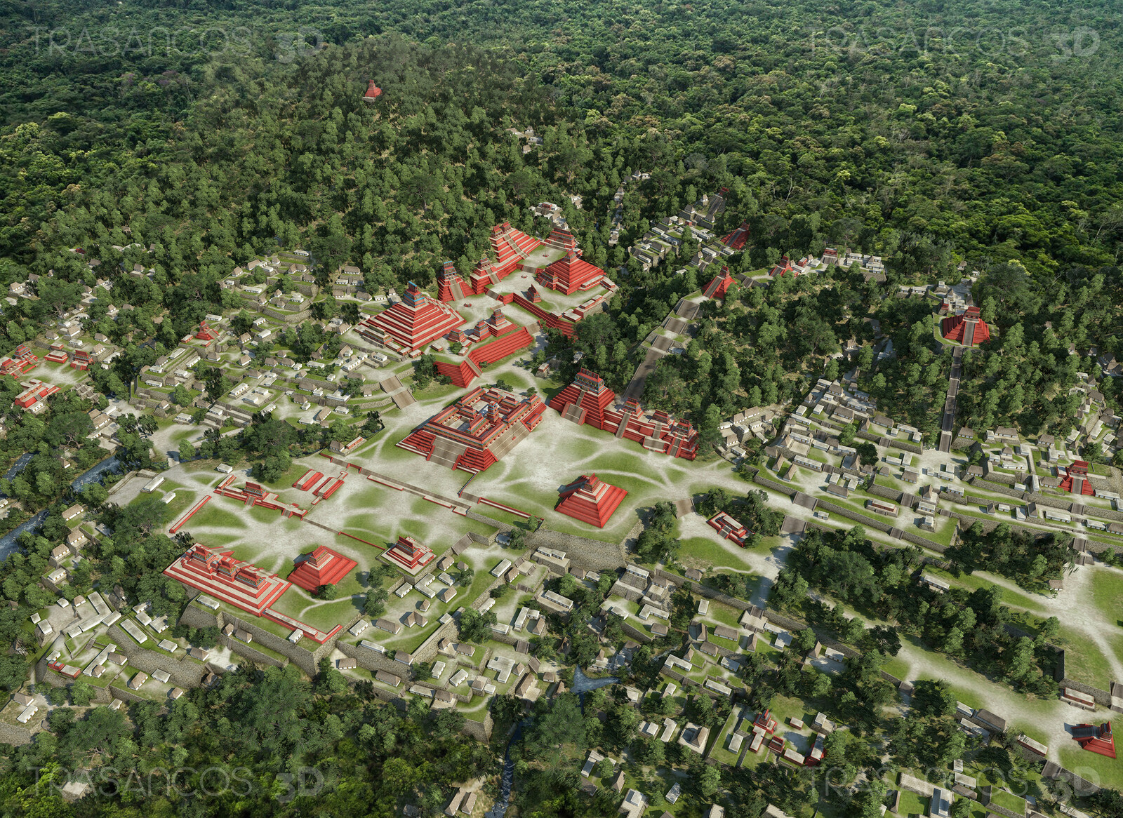 General view of the city of Palenque reconstructed. Modeled in collaboration with: - Andrés Armesto - Alejandro Soriano - Carlos Paz - Diego Blanco