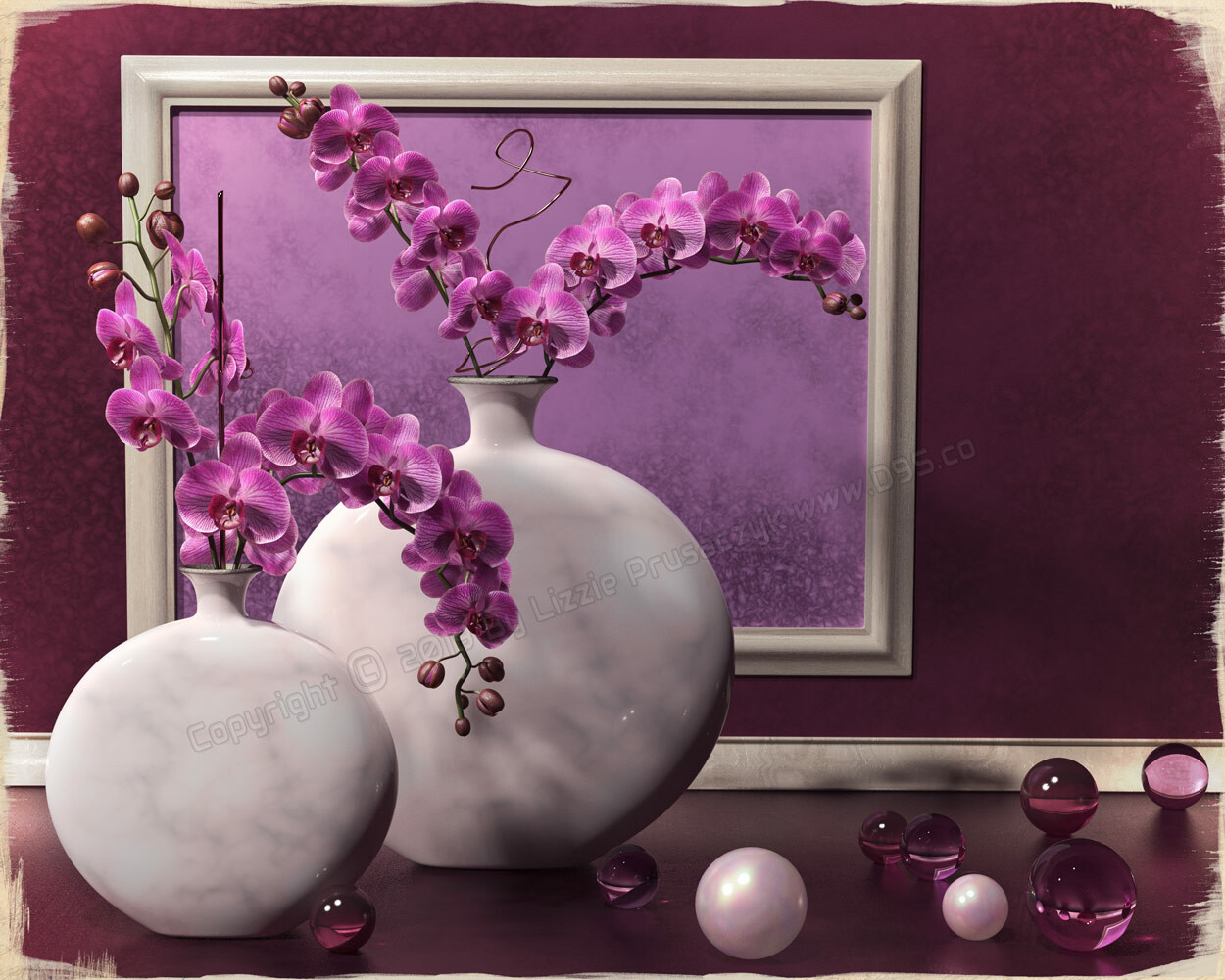 A zen-like configuration of orchids in fuchsia and cream tones.