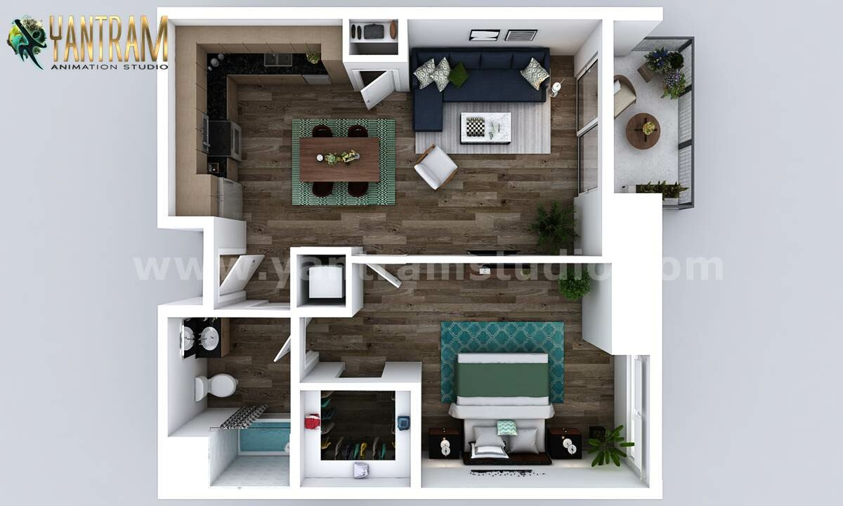 Artstation New Style One Bedroom Apartment 3d Floor Plan Design By Architectural Studio Dallas Usa Yantram Architectural Design Studio