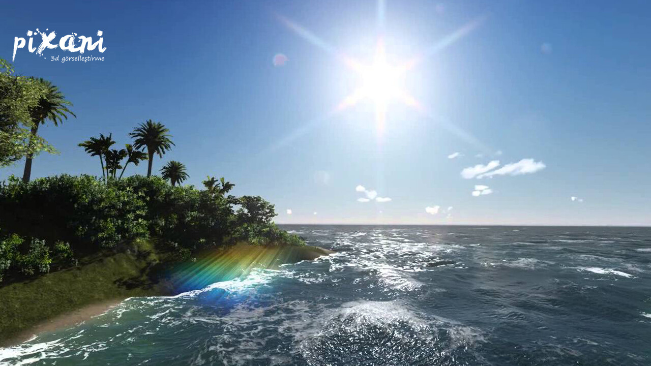 Sea and Island  3D Modeling & Render