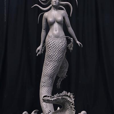 Surajit sen luna mermaid digital sculpture surajitsen jul2019