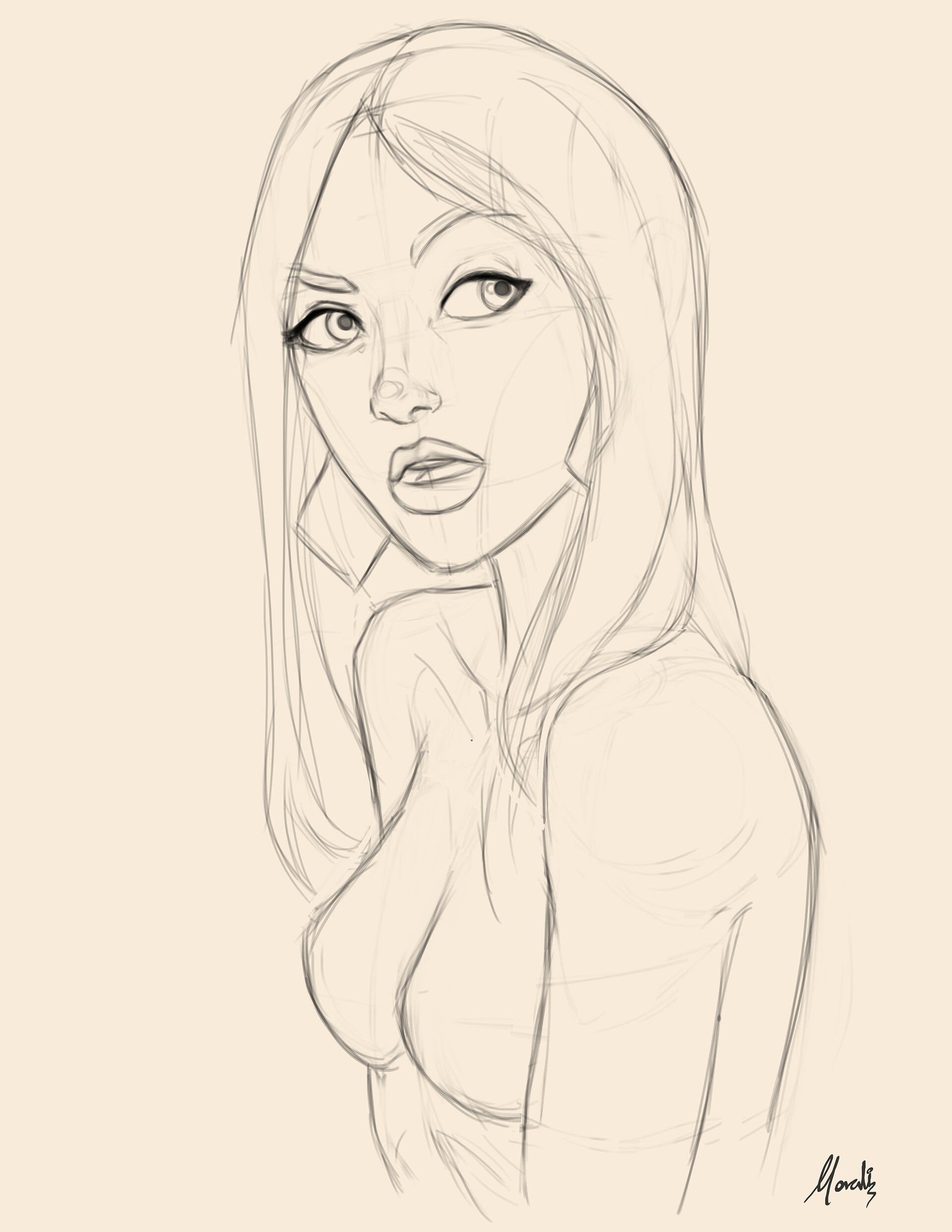 The initial sketch, then I decided to go closer and crop her a bit.