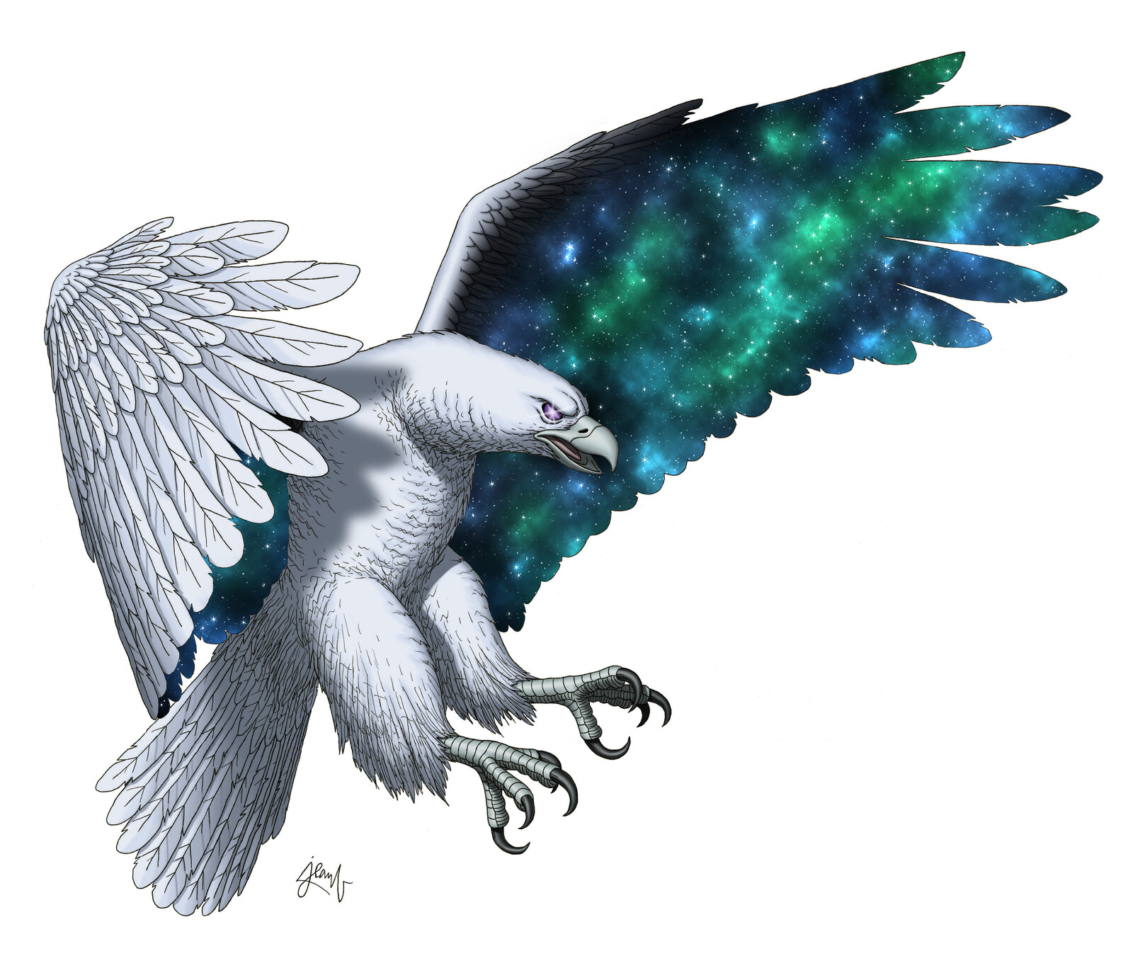 """Here's my take on Hræsvelgr (pronounced """"fresvelgurr"""", sometimes written Hræsvelg, or Hresvelgr), who is, in Norse mythology, a jötunn (giant) taking the form of a huge eagle that sits at the end of the world, the northern edge of heavens."""