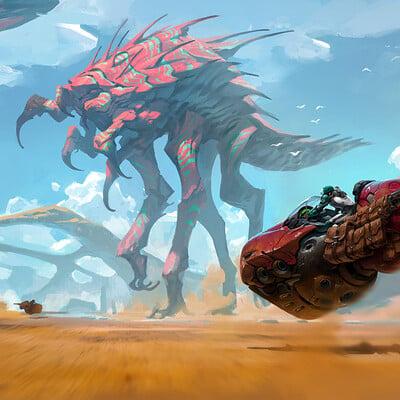 Kory lynn hubbell giant creature hoverbikes artstation