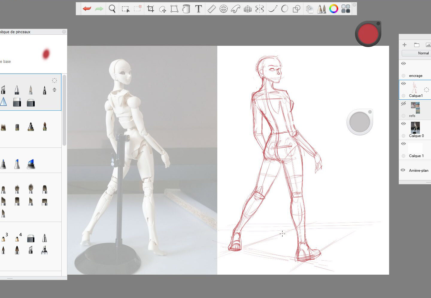 i used my SFBT3 articulated doll to make a pose and take a photo of it. Then i've done my skeleton sketch.