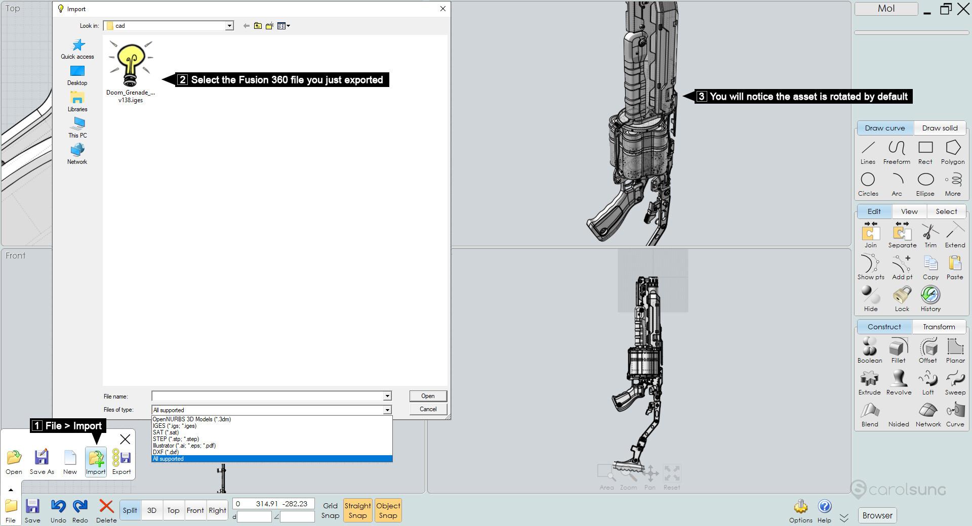 ArtStation - Fusion 360 Game Asset Workflow Tutorial, Carol Sung