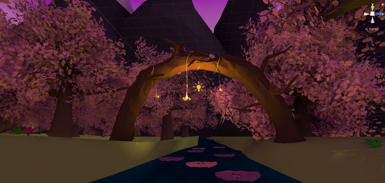 We wanted players to walk down the path on lily pads, with cherry blossoms and flowers that they could interact with as they went down the river finding objects to play with. My goal in this design was to focus the eye down the path, thus the wooden arch.