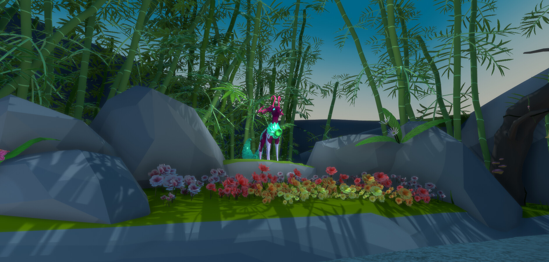 Belldeer's pedestal. Since this area both encapsulates overgrown bamboo and a lush blossom forest, we wanted to prop the cornerstone of this zone in a spot that could showcase the connection between these two distinct zones.