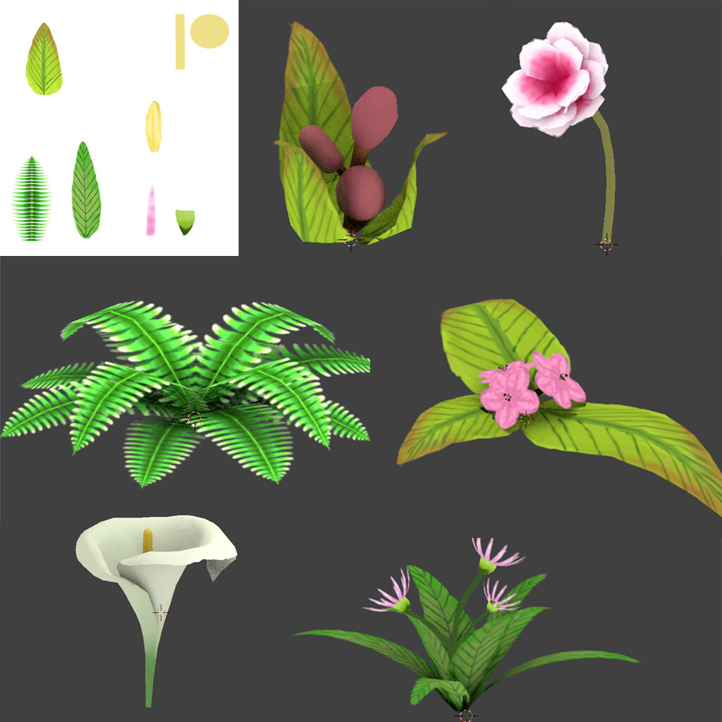 Some of the assets used in this area. They are all UV mapped, with a face count of less than 50 for most of these, with exception to the callo lily.