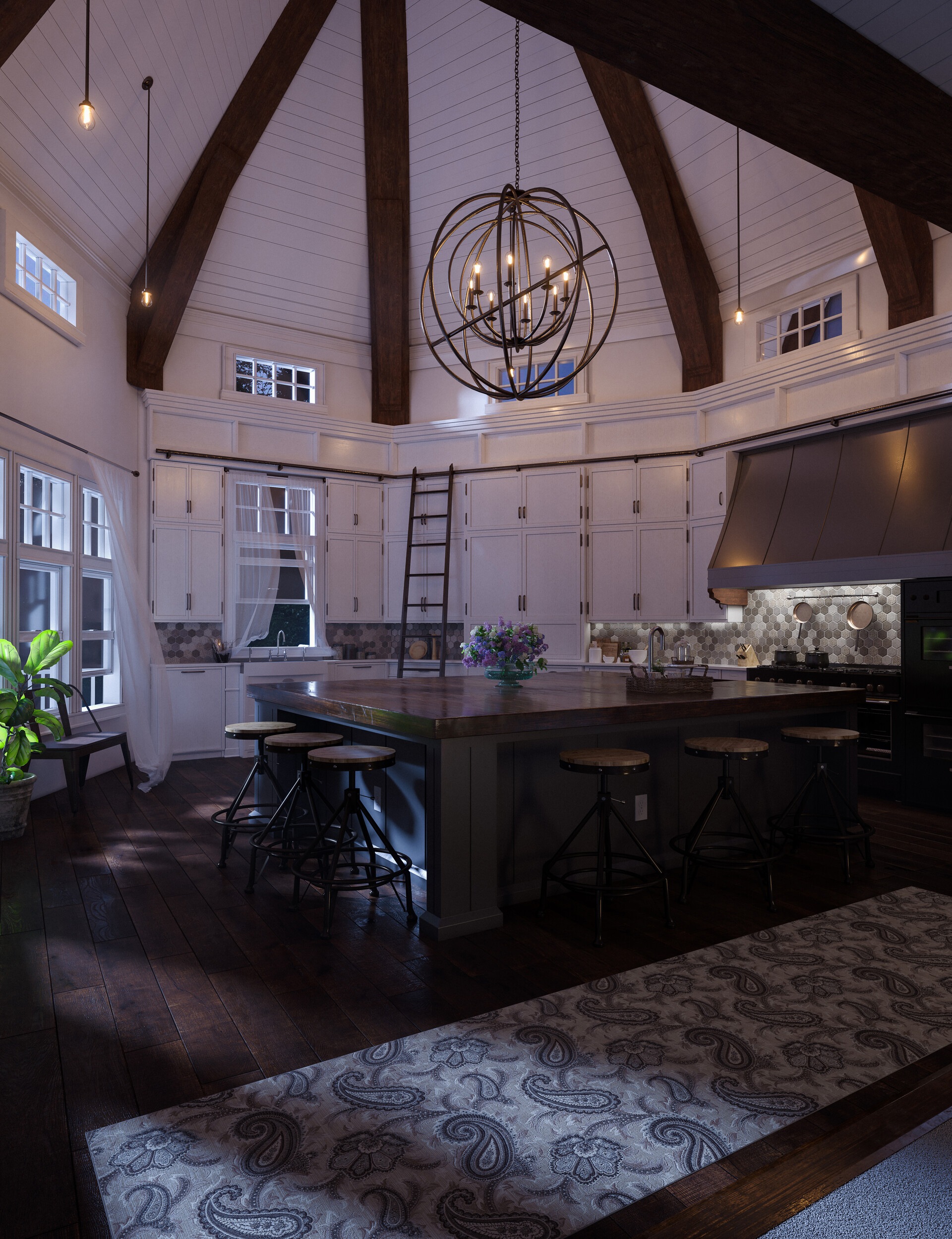 Lake house kitchen - Evening time.