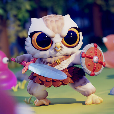 Daniel aubert cute warrior owl