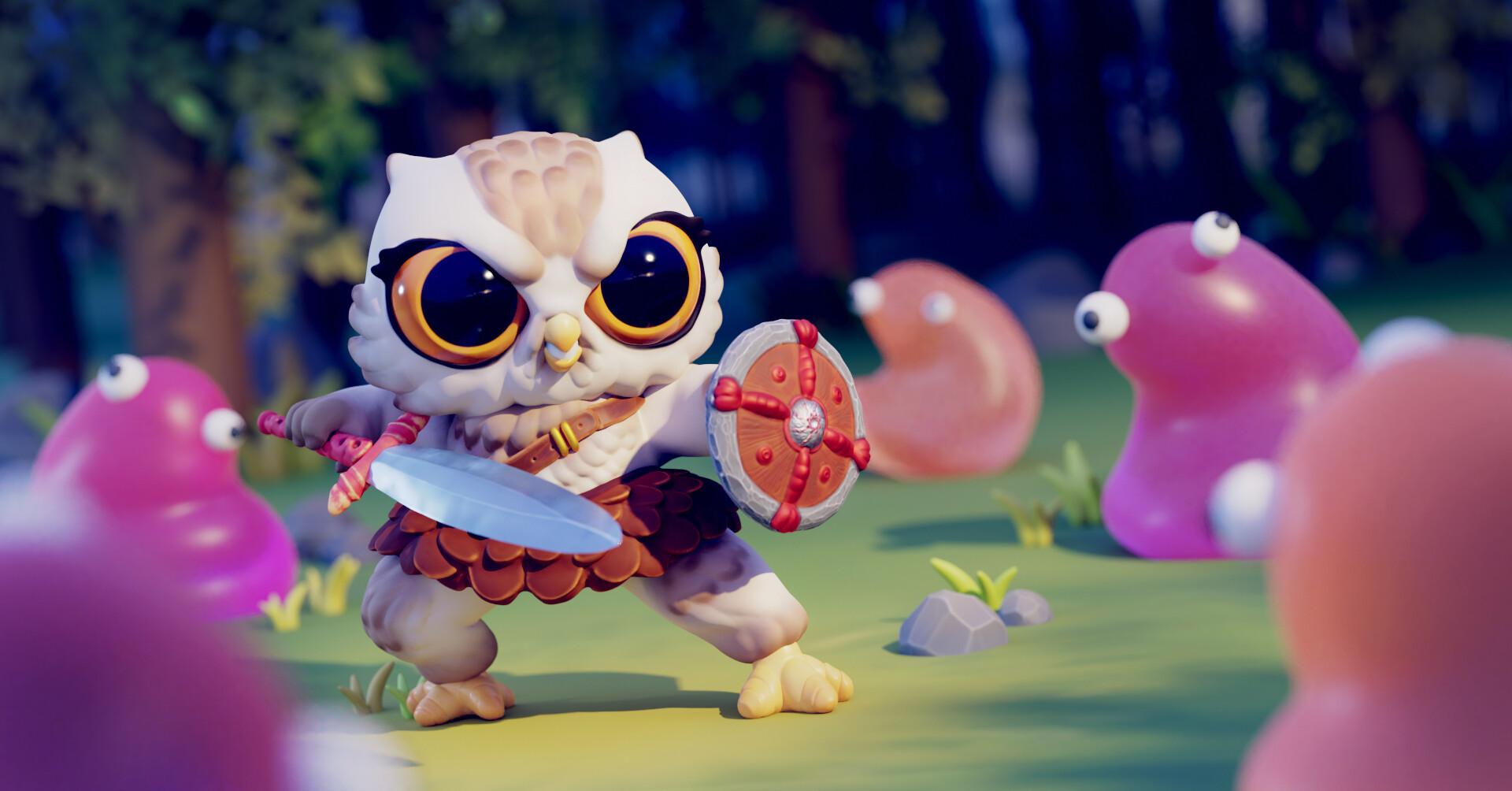 Daniel aubert cute warrior owl