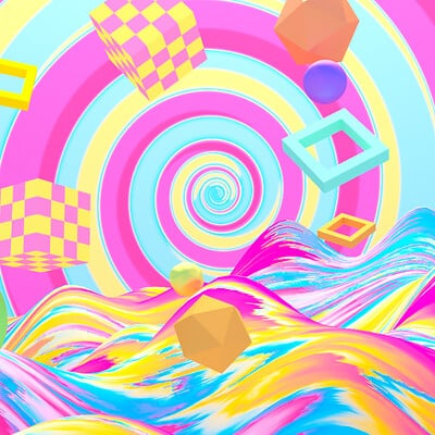 Judy kao artstation tykcartoon abstract rainbow geometric world