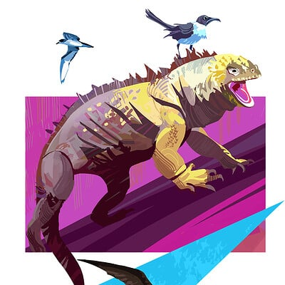 Hugo puzzuoli iguana birds small