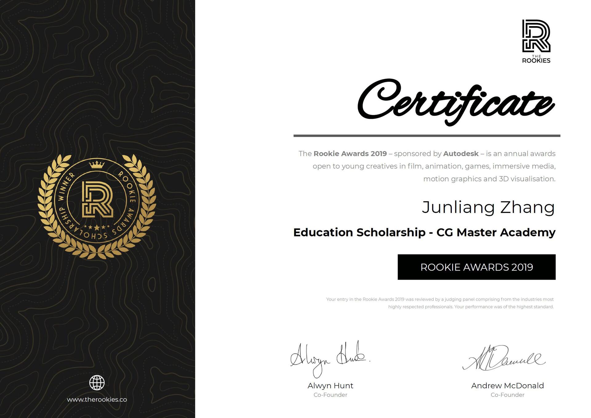 Junliang zhang education scholarship cg master academy winner