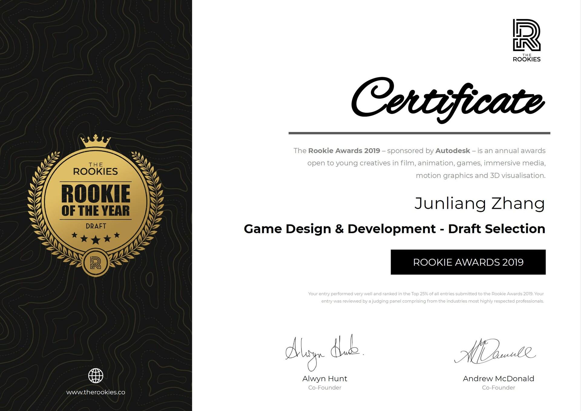 Junliang zhang game design development draft selection