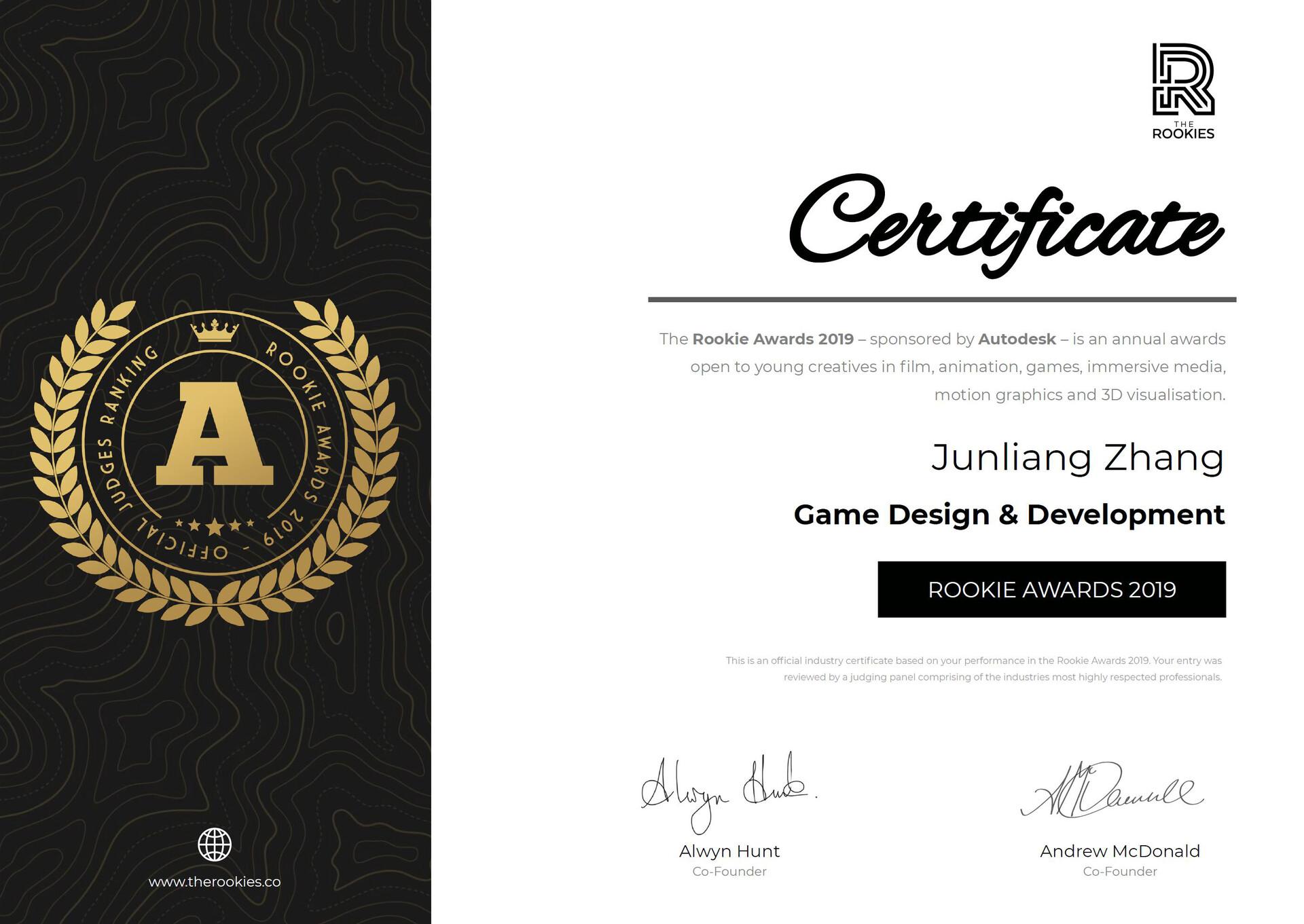 Junliang zhang ookie awards 2019 rank a certificate