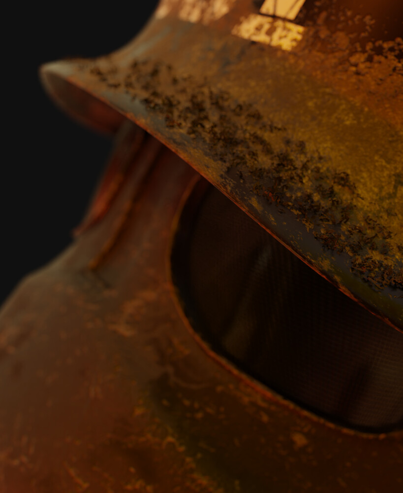Ashes close up on helmet.